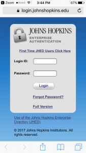 Zoom mobile login step 4 - login with JHED-ID