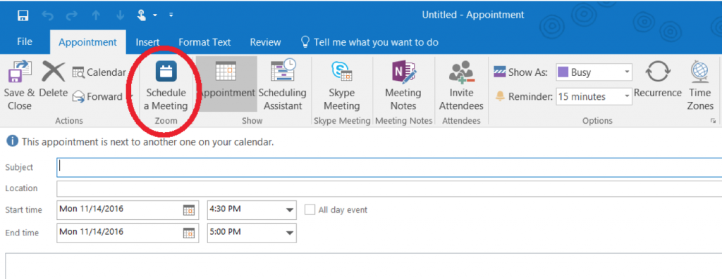 Outlook integration with Zoom screenshot