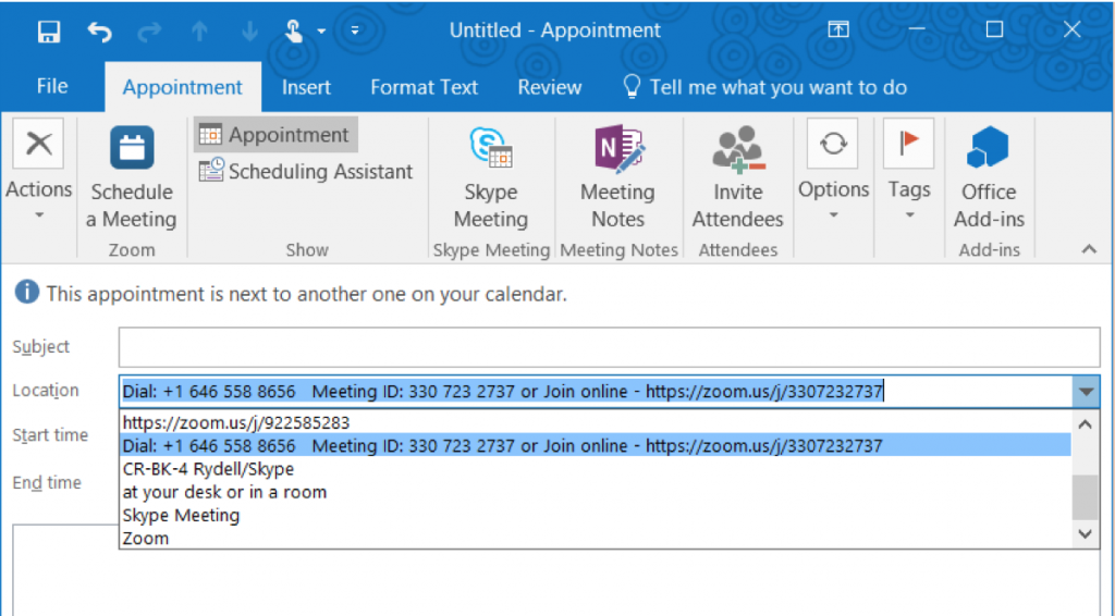 Add Zoom meeting to Outlook appointment screenshot