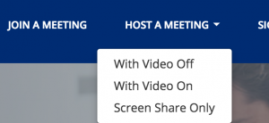 Click host a meeting and then select meeting option