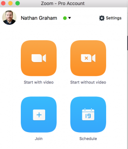 Start a meeting in the zoom desktop app by clicking Start with video