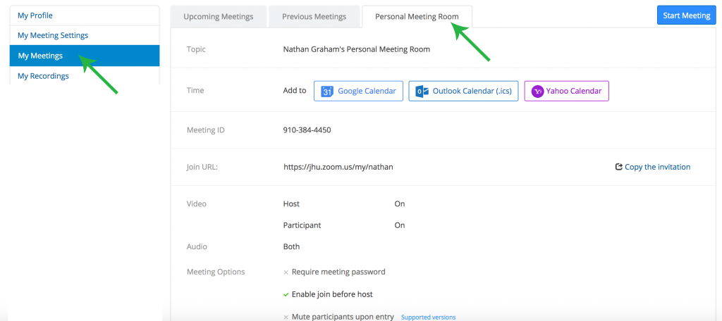 Zoom personal meeting settings screenshot