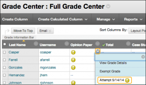 Screenshot that shows going into full grade center in Blackboard and selecting grade attempt