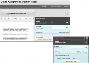 Screenshot showing how to view originality report by selecting the attempt and then View Originality Report