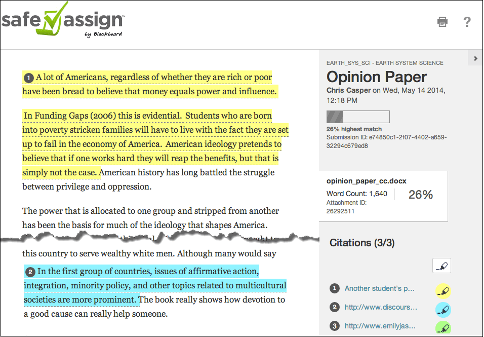 Screenshot of an example Originality Report that shows highlighted text that might indicate improperly cited work