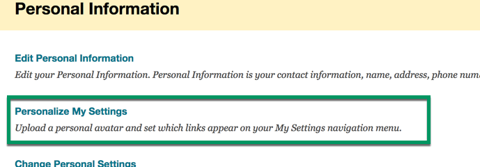 Click personalize my settings