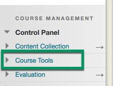 Screenshot of selecting Course Tools under Course Management
