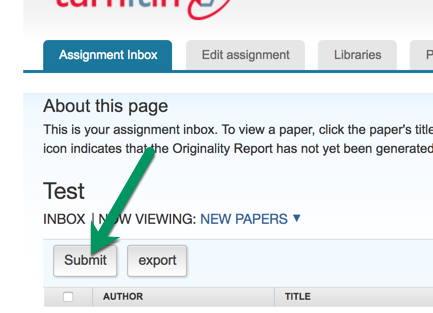 Turnitin Assignment, click submit