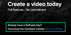 Downnload and install camtasia by selecting the appropriate operating system