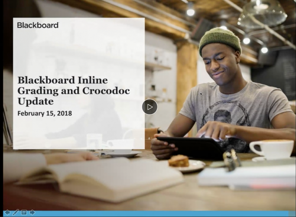 Blackboard inline grading webinar where they detail upcoming improvements