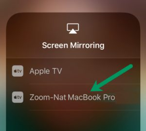 Select your computer in the Screen Mirroring settings