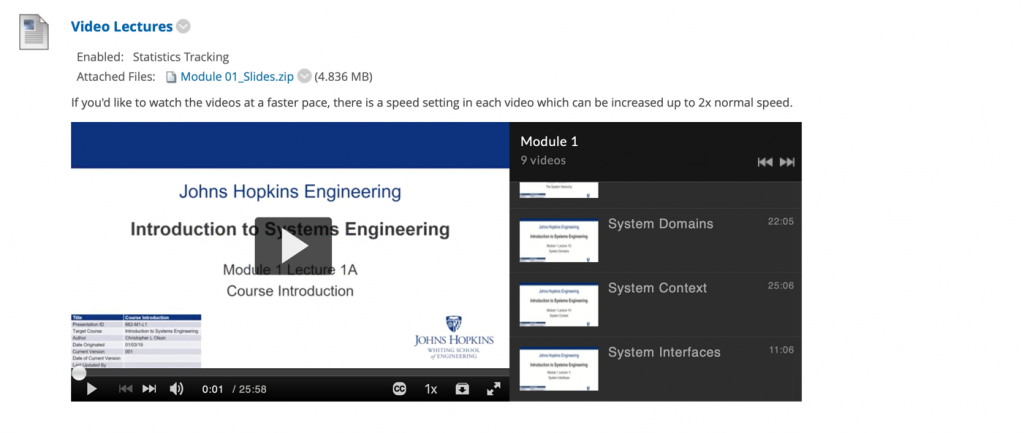 Kaltura playlist feature in Blackboard. One video with a list of subsequent videos along the right-hand side.