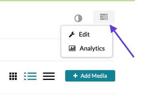 Blue arrow pointing to the Channel Actions button, with Edit and Analytics on the drop-down.
