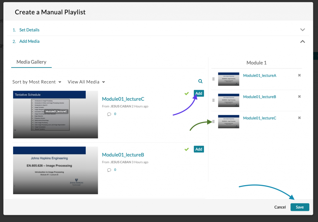 Create a Manual Playlist dialogue box illustrating how to add media, rearrange media, and save media.