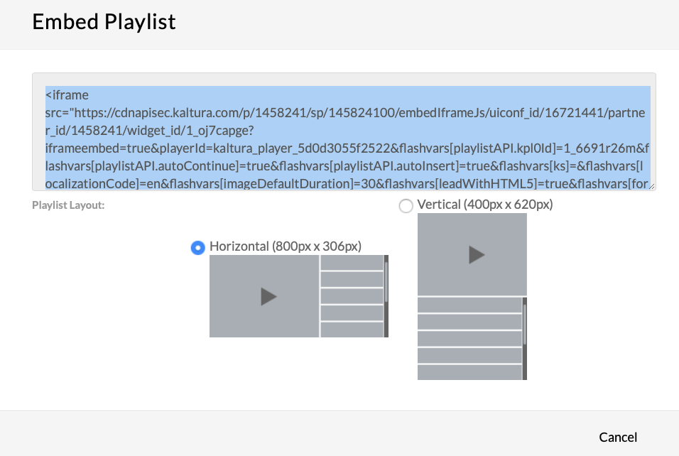 Embed Playlist dialog box
