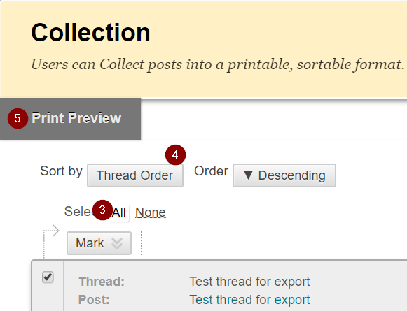 Sort by thread order by clicking Select All, Sort by Thread Order, and then pressing Print Preview