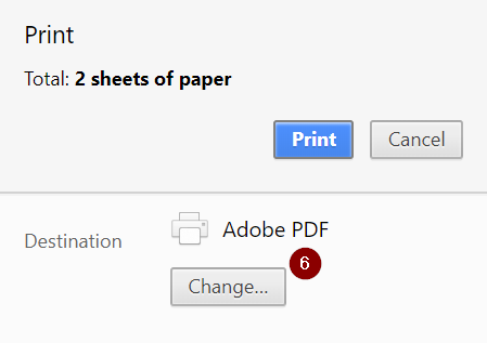 Print Dialogue, Select Print to PDF
