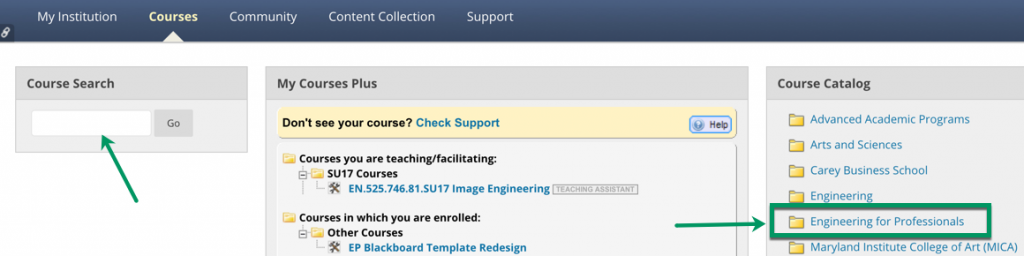 Screenshot of Blackboard course dashboard with an arrow pointing to general course search or Engineering for Professionals catalog