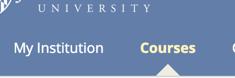 Screenshot of Courses tab selected in the Blackboard top menu