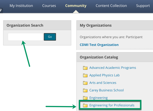 Screenshot of Bb community search options with arrow pointing to general search field and to Engineering for Professionals catalog link